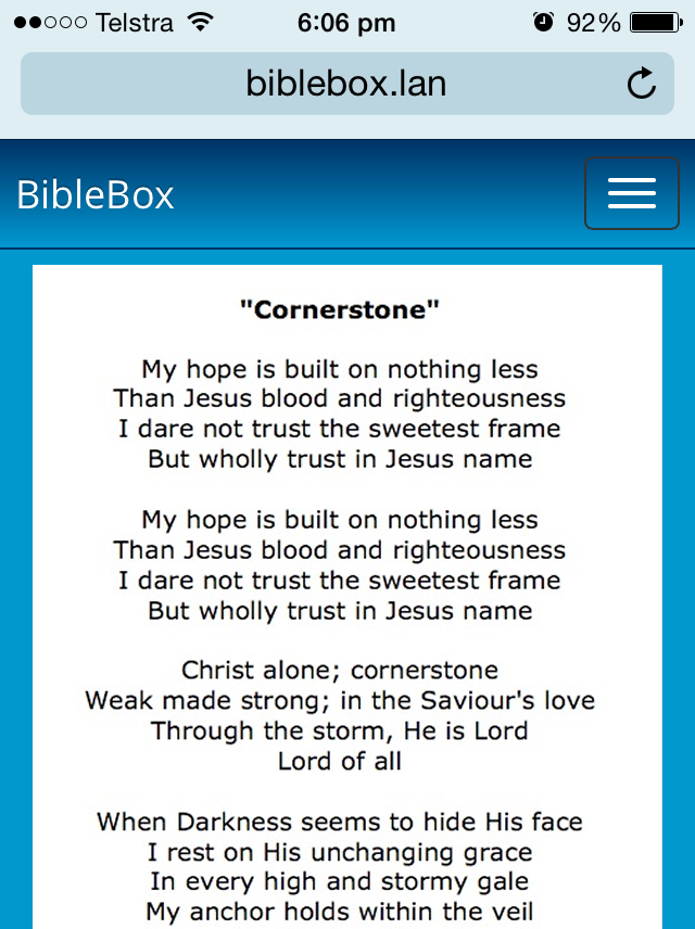 BibleBox iphone Hillsong Cornerstone